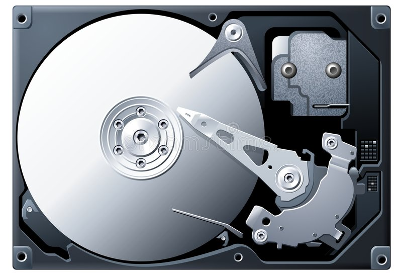 Download Titanium Hard Disk Drive stock vector. Image of part, inside - 7866052