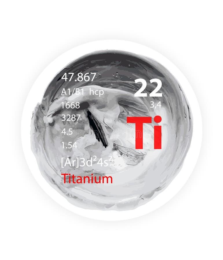 Titanium ikona odznaka styl - szarość - akwareli farba - ilustracja wektor