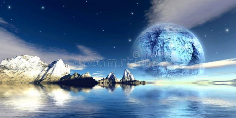 Titanium moon vector illustration