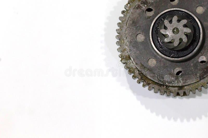 Titanium and steel gears oil stock photo