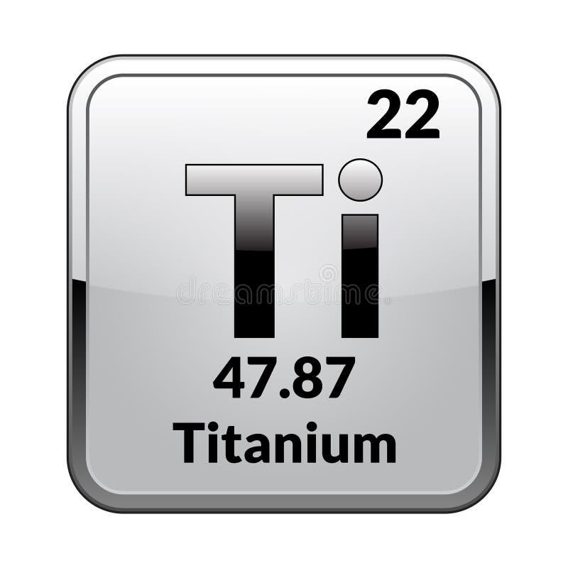 Titaniumsymbool Chemisch element van de periodieke lijst aangaande een glanzende witte achtergrond in een zilveren kader Vector i stock illustratie