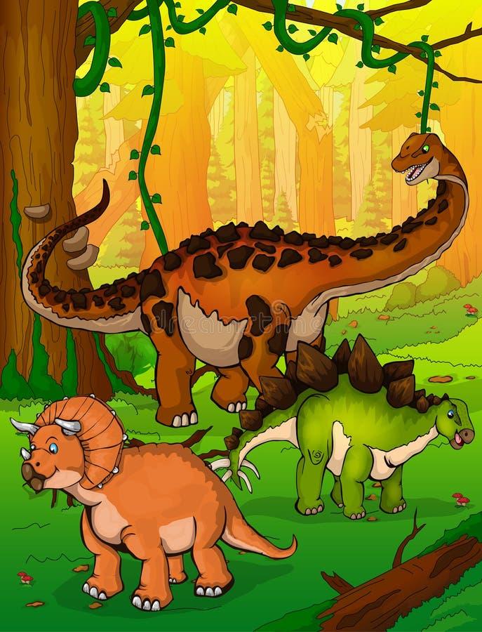 Titanosaur, Stegosaurus y Triceratops en el fondo del bosque ilustración del vector