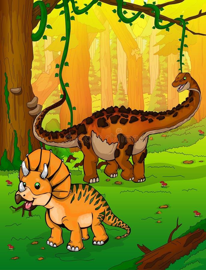 Titanosaur y Triceratops en el fondo del bosque libre illustration