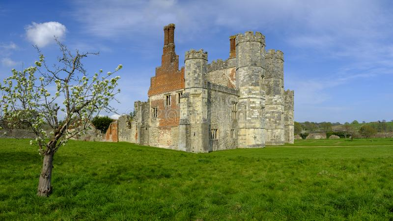 Titchfield Abbey ruins in afternoon spring light. Titchfield, UK - May 1, 2019: The ruins of Titchfield Abbey near Fareham, Hampshire, UK stock image