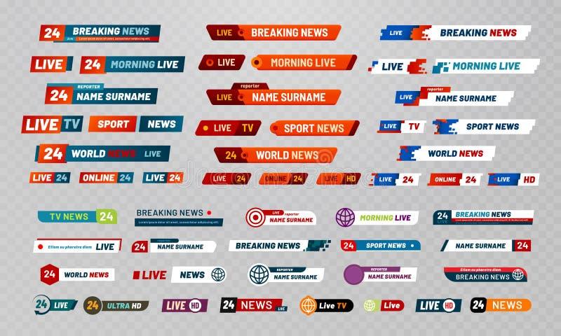 Titel för tvTV-sändning Baner för kanaler för televisionradioutsändning, showtitlar och nyheterna bor uppsättningen för videobane royaltyfri illustrationer