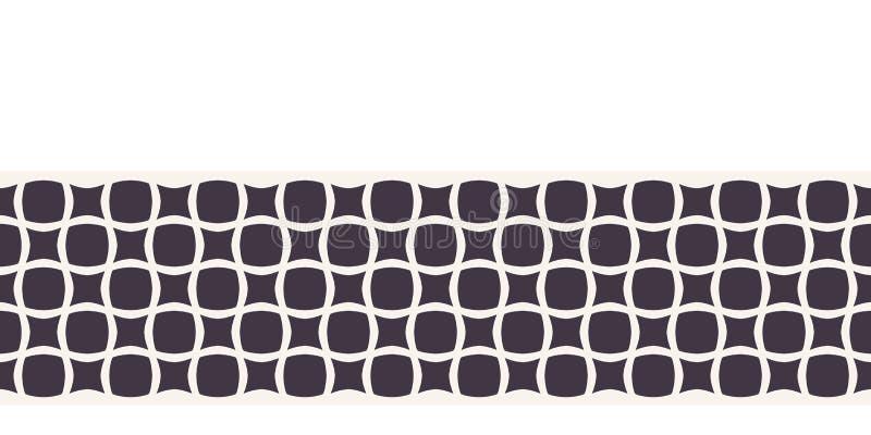 Titel Moderne geometrische hand getrokken vierkant mozaïekgrens Herhaling van abstracte koolstofafwerking Ornamental monochrome g royalty-vrije illustratie