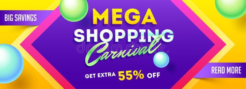 Titel- oder Fahnenentwurf mit 55% Rabattangebot für das Mega- Einkaufen stock abbildung