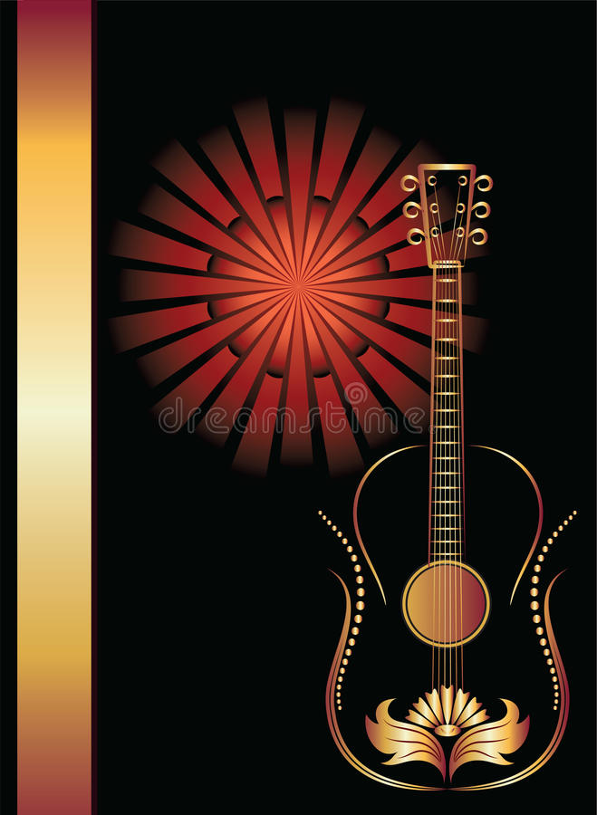 Titelblatt mit Gitarre. stock abbildung