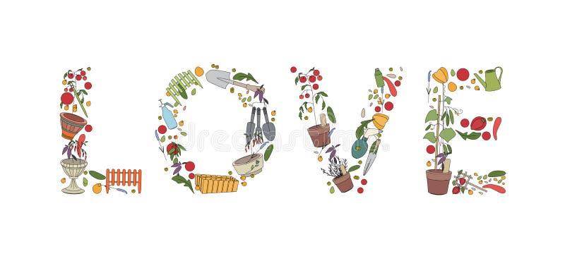 Titelliefde van tuinhulpmiddelen en installaties die wordt gemaakt stock illustratie