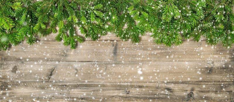Titelrad för bakgrund för julgranfilialer trä arkivfoton