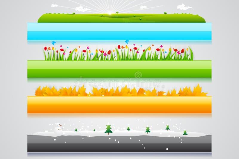 Titelrad för fyra säsong vektor illustrationer
