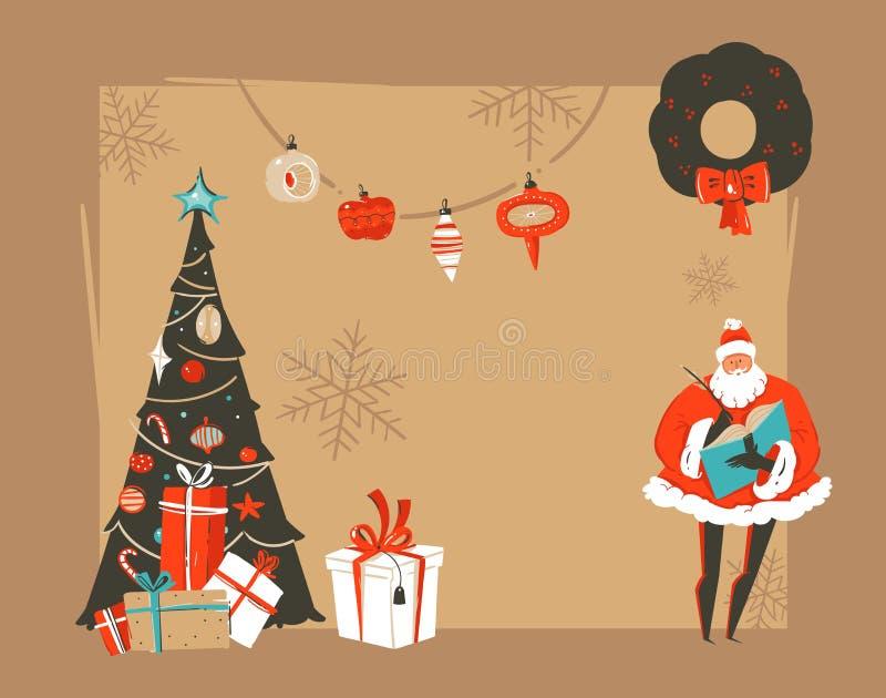 Titelrad för kort för hälsning för illustrationer för tecknad film för tappning för tid för hand dragen jul för vektorabstrakt be royaltyfri illustrationer