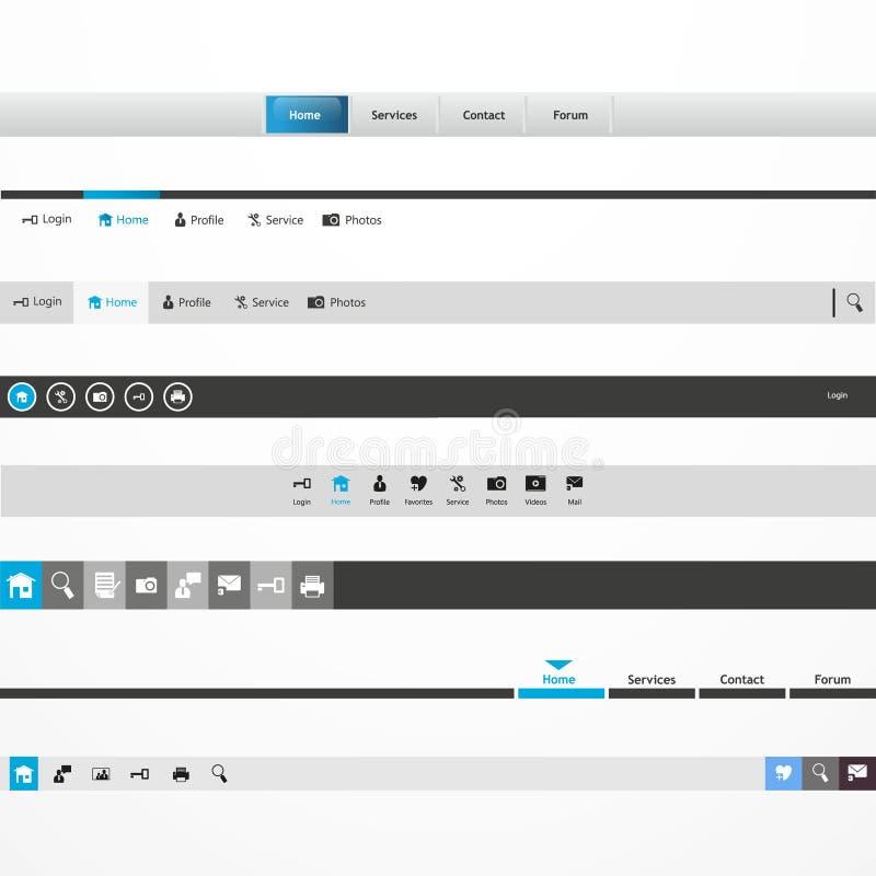 Titelrad för Website för stång för navigering för meny för rengöringsdukdesign vektor illustrationer