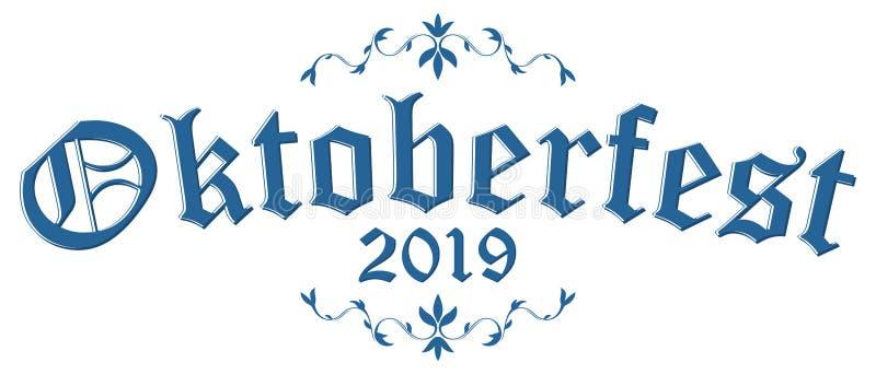 Titelrad med text Oktoberfest 2019 vektor illustrationer