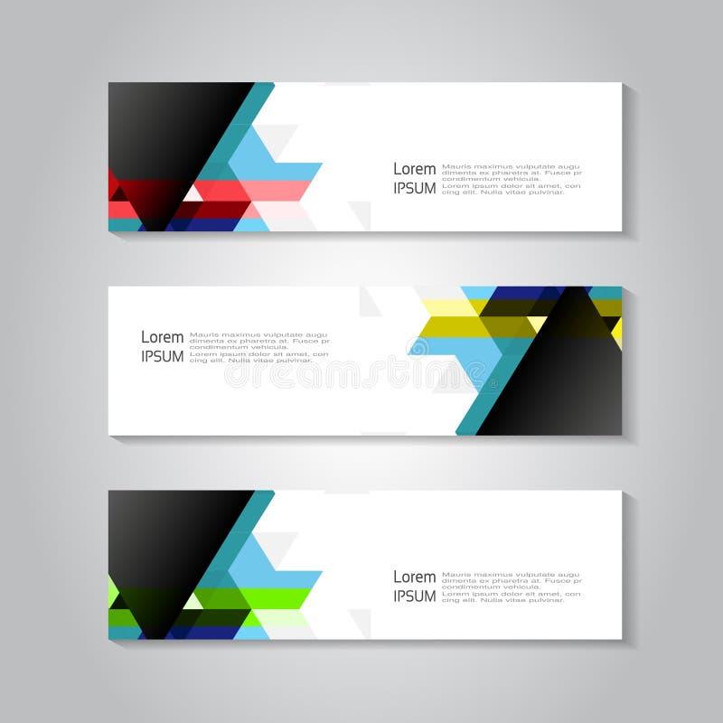 Titelrad- och banermall med färgtriangelbakgrund Geometriaffärsidé för titelraden, baner, orientering, broschyr, reklamblad, vektor illustrationer