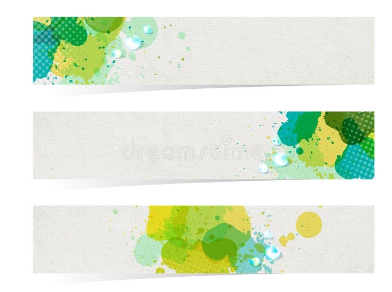 Titelrader för abstrakt begrepp för vektorbanervattenfärg royaltyfri illustrationer