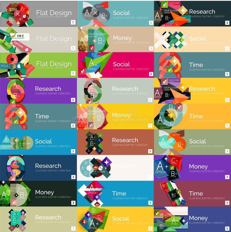 Titelrader infographic baner för lägenhetdesignalternativ royaltyfri illustrationer