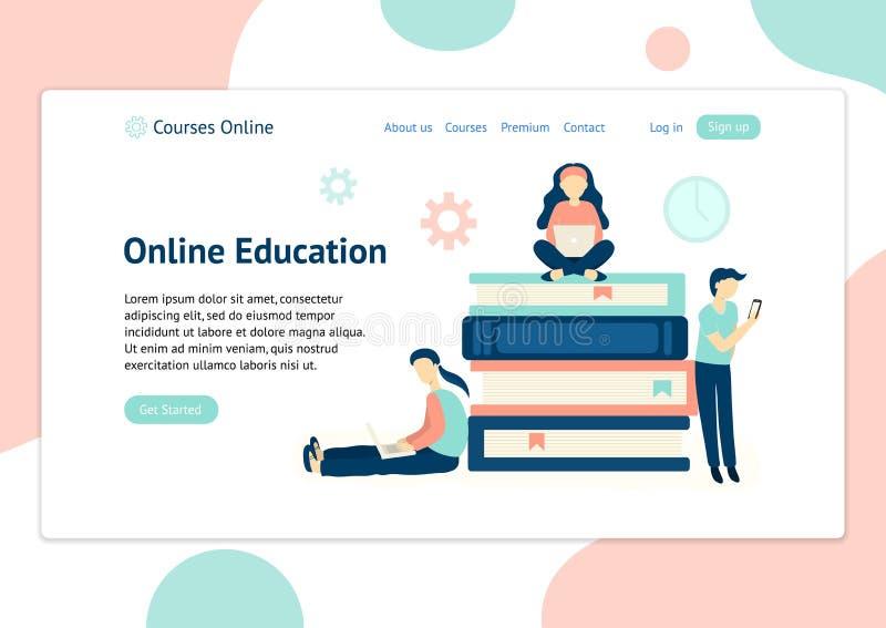 Titelschablone für Website mit den Leuten, die mit verschiedenen Geräten lernen vektor abbildung