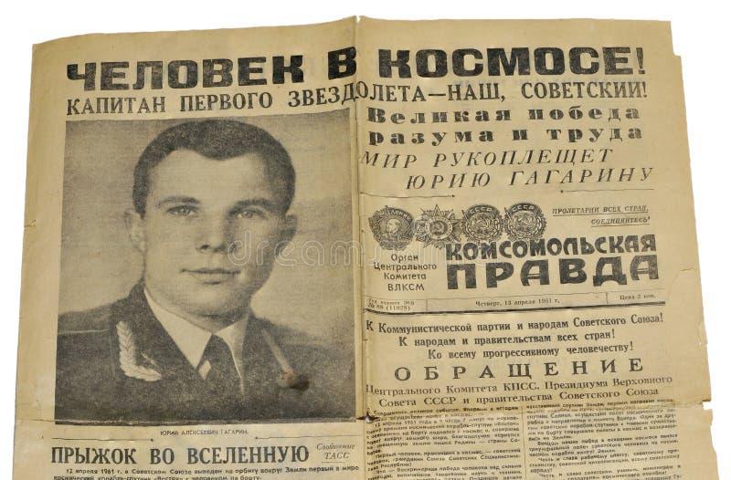 Titelseite der sowjetischen Zeitung lizenzfreie stockbilder