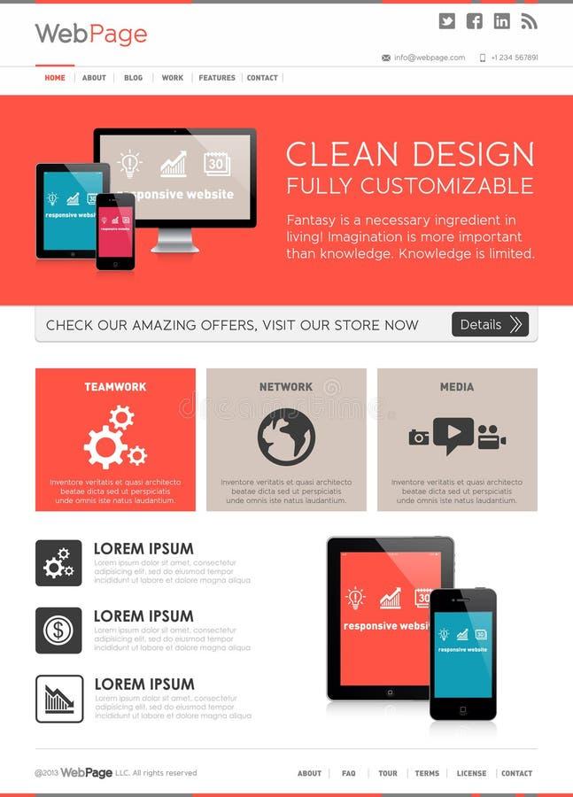 Titelseitewebdesignschablone, Websiteelementvektor stock abbildung