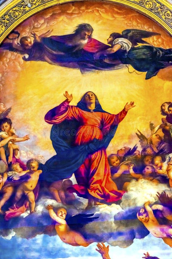 Titian antagande Mary Painting Santa Maria Gloriosa de Frari Ch arkivbilder