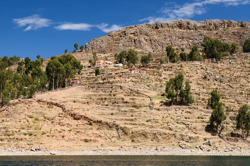 Titicaca湖,秘鲁, Amantani海岛 免版税库存照片
