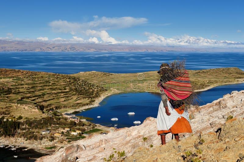 Titicaca jeziora krajobraz, Boliwia obrazy stock