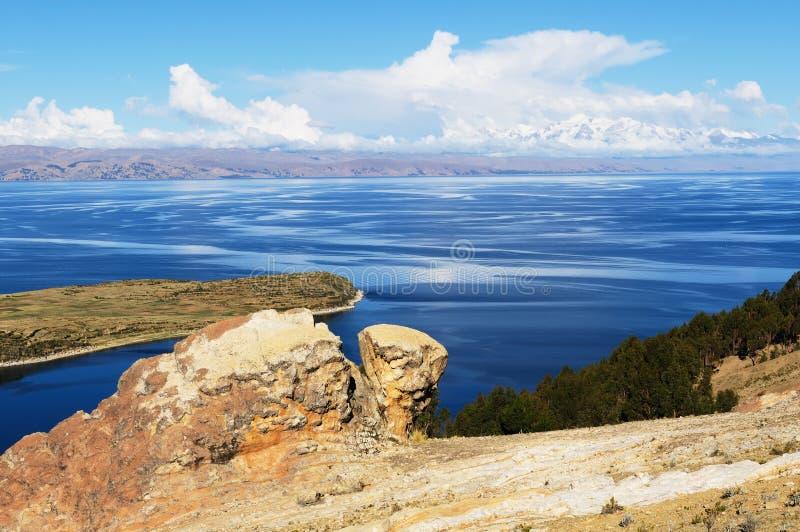 Titicaca jezioro, Boliwia, Isla krajobraz Del Zol zdjęcie royalty free