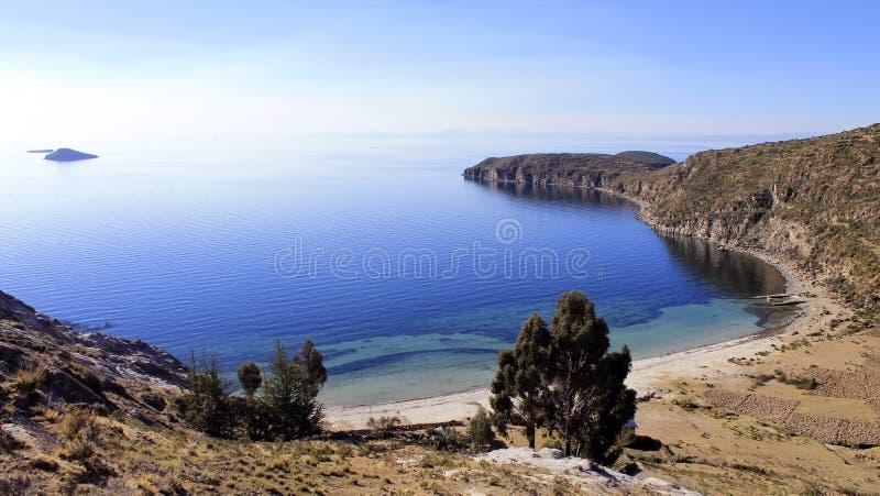 Titicaca Jezioro, Boliwia, Isla krajobraz Del Zol zdjęcia royalty free