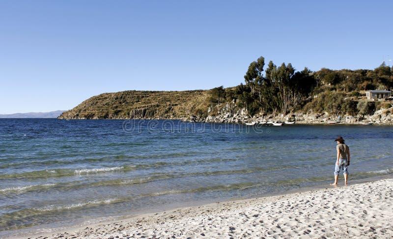 Titicaca Jezioro, Boliwia, Isla krajobraz Del Zol obraz stock