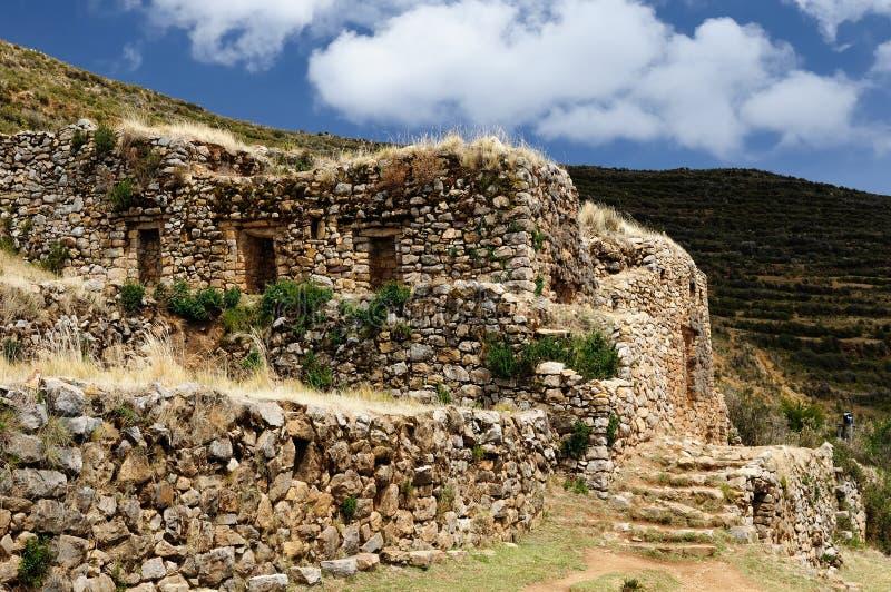 Titicaca sjön, Inca fördärvar, Bolivia fotografering för bildbyråer
