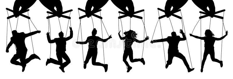 Titiritero de la mano Manipulación de la gente, marionetas El dueño controla a los subordinados Sistema aislado del ejemplo del v stock de ilustración