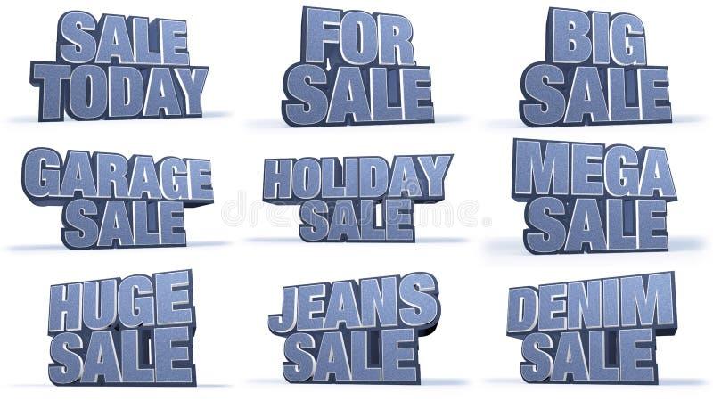 Titlar för aktion för jeanssamlingsförsäljningar vektor illustrationer