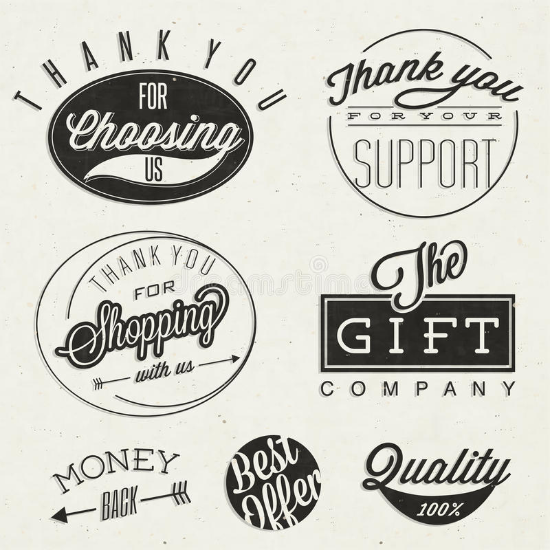 Titlar och symboler för Retro tappningstil typografiska. stock illustrationer