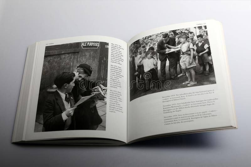 Photography book by Nick Yapp, Two schoolboys playing game of Conkers in Kent royalty free stock image