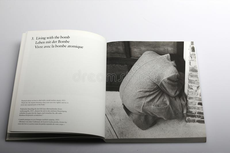 Photography book by Nick Yapp, how to deal with a nuclear attack royalty free stock photo