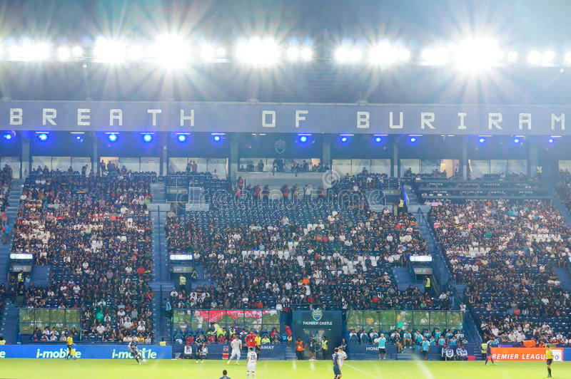 Title=BURIRAM, THAILAND - AUGUST 15: 'Breath of Buriram'. Slogan on the east stand of I-mobile stadium on August 15 ,2015 in Buriram, Thailand stock image