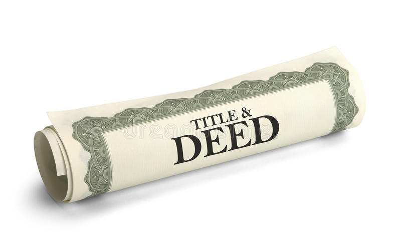 Title Deed. Title and Deed Paper Document Rolled and Isolated on a White Background stock image