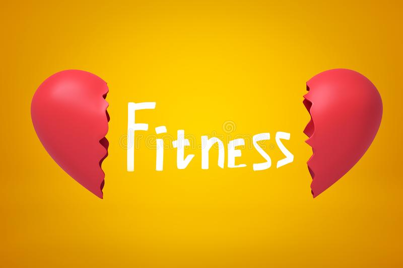 Title Fitness between 3d close-up rendering of two parts of broken heart on yellow background. Cardiac function problem. Healthcare. Keeping fit royalty free illustration