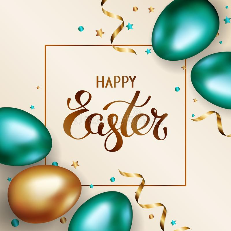 Title Happy Easter in frame. Gold and green metallic easter eggs on light background with golden serpentine and confetti stock illustration