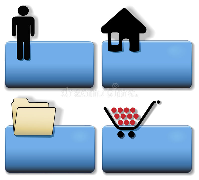 Title Icon Symbol Set Person Home File Cart. Blue Title Icon Symbol Set: Person; Home House; File Folder; Shopping Cart. Simply add your title in plain white vector illustration