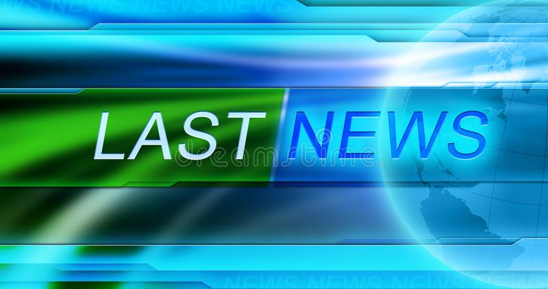 Last News background wallpaper. Title LAST NEWS at the center of banner at blue background. royalty free stock image