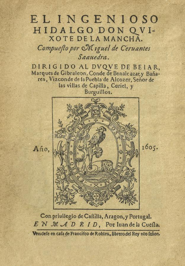 Title page of the first edition of Don Quixote novel by Miguel de Cervantes royalty free stock image