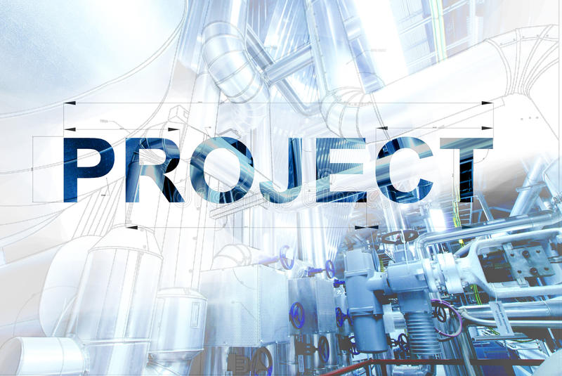 Title page for PROJECT wireframe computer cad design of pipelines for modern industrial. Word PROJECT over wireframe computer cad design of pipelines for modern stock photography