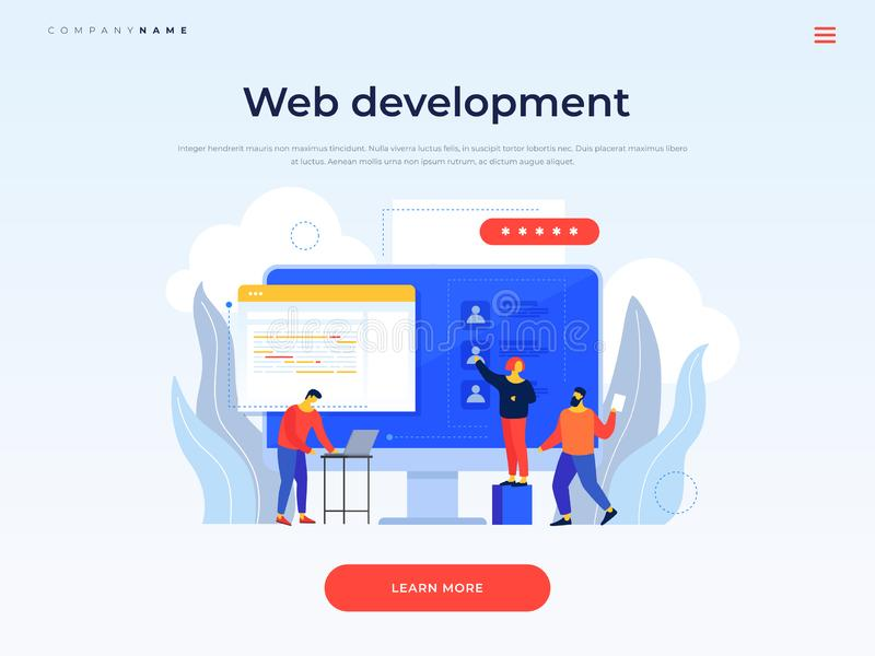 Title for website. Banner. Team of young employees is working on new web project of company. Collaborate in web agency. Concept of communication, discussion of vector illustration
