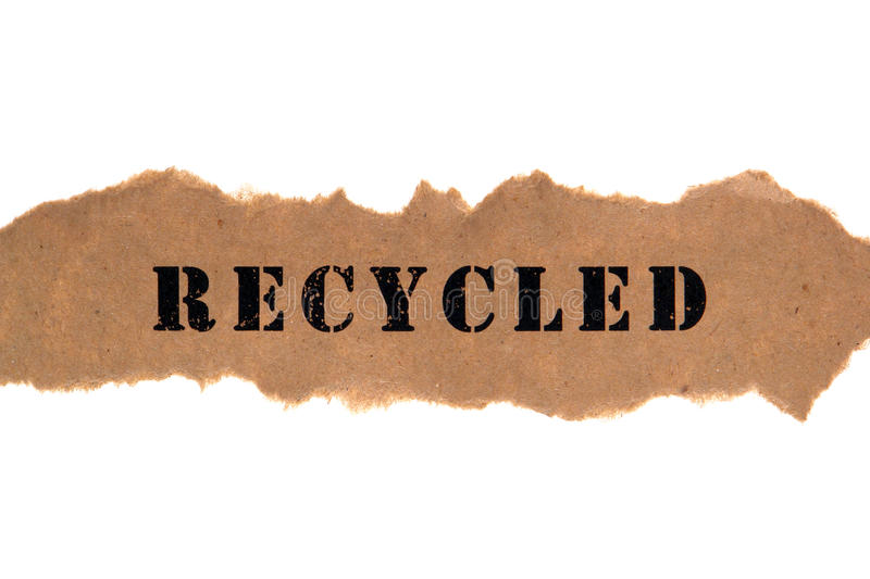 Title Word Recycled On Brown Paper Banner Royalty Free Stock Photo
