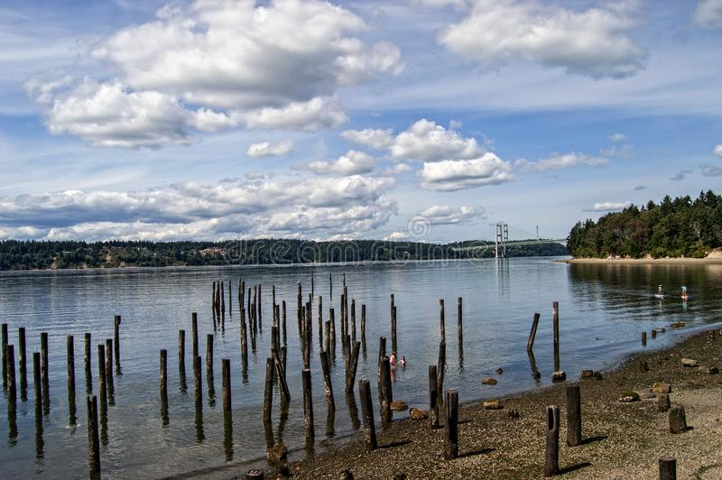 Titlow Park in Washington State. On a partly sunny day with nice clouds stock image