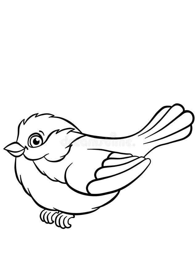 Titmouse on the ash tree stock illustration