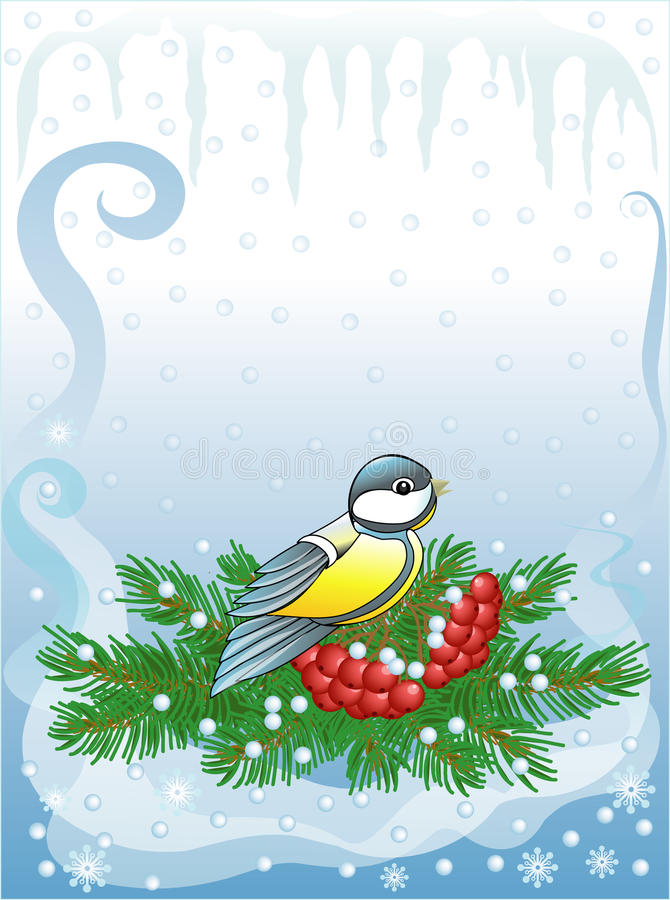 Download Titmouse & Fur-tree With Berries (vector) Royalty Free Stock Image - Image: 22150336