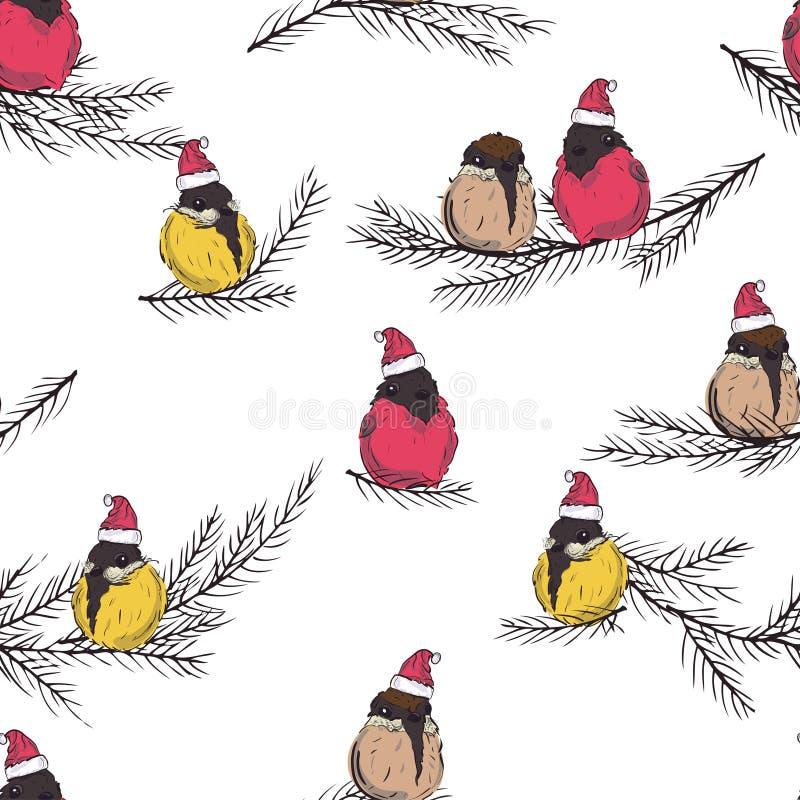 Titmouse, gil Zima ptaków bezszwowy wzór Ptaki w Święty Mikołaj kapeluszu ptaki siedzi na wigilii gałąź ilustracja wektor